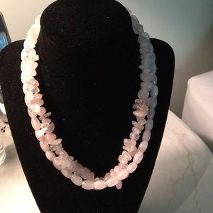 Handcrafted double pink quartz necklace.